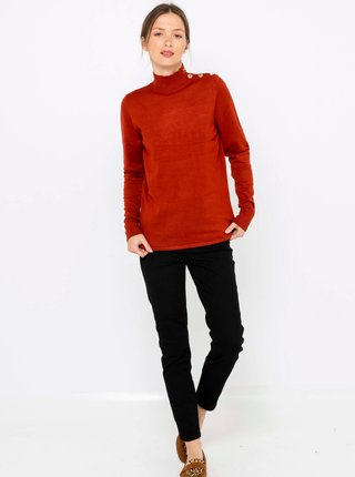 Hnedý svetr so stojačikom CAMAIEU