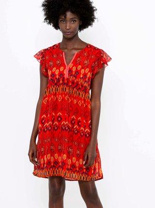 Červené vzorované šaty CAMAIEU