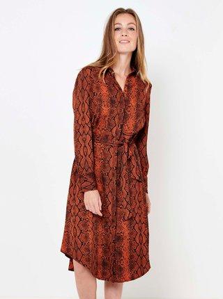 Hnědé vzorované košilové šaty CAMAIEU