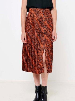 Hnedá midi sukňa s hadím vzorom CAMAIEU