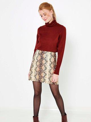 Hnedá sukňa s hadím vzorom CAMAIEU