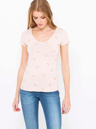 Svetloružové vzorované tričko CAMAIEU