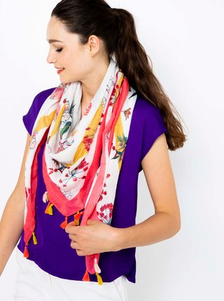 Růžovo-bílý vzorovaný šátek CAMAIEU