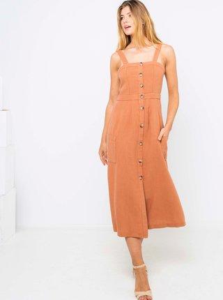 Hnědé lněné midi šaty CAMAIEU