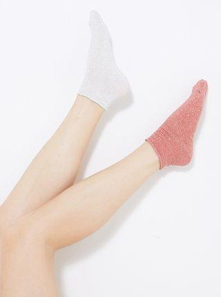 Růžovo-bílé kotníkové ponožky CAMAIEU