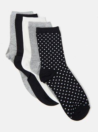 Sada pěti párů vzorovaných ponožek v šedé, černé a bílé barvě CAMAIEU