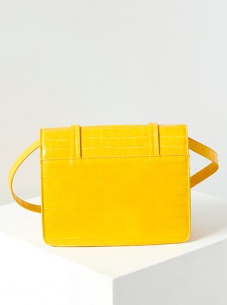 Žltá crossbody kabelka s krokodýlím vzorom CAMAIEU