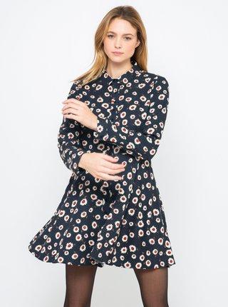 Černé košilové květované šaty CAMAIEU