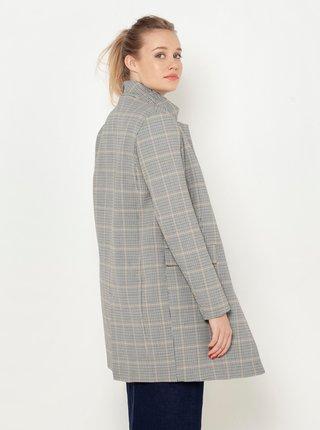 Šedý vlněný kostkovaný kabát CAMAIEU