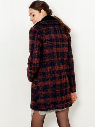 Hnědý kostkovaný kabát s příměsí vlny CAMAIEU