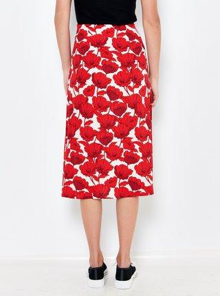 Červená kvetovaná midi sukňa CAMAIEU