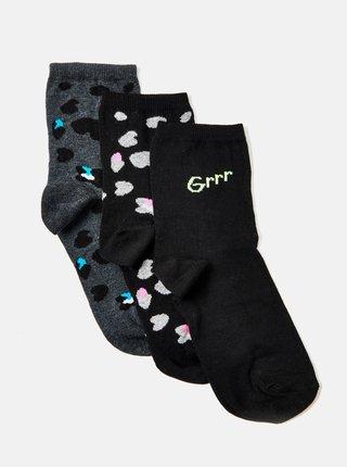Sada tří párů černých vzorovaných ponožek CAMAIEU