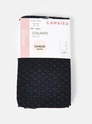 Čierne vzorované pančuchové nohavice CAMAIEU