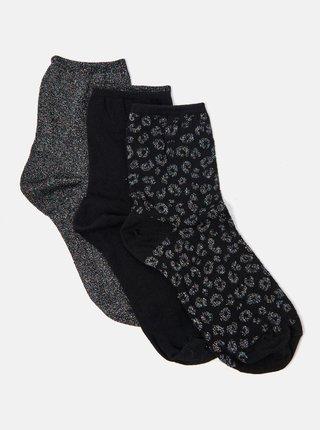 Sada troch párov čiernych vzorovaných ponožiek CAMAIEU