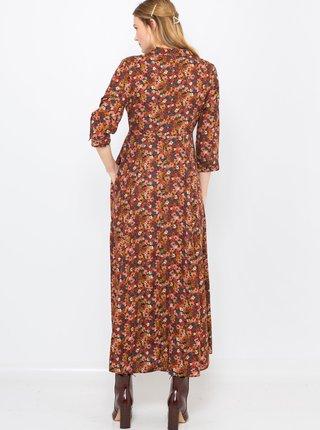 Hnedé košeľové kvetované maxi šaty CAMAIEU