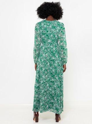 Zelené kvetované maxi šaty CAMAIEU