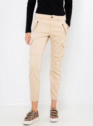 Béžové kalhoty se zipy CAMAIEU