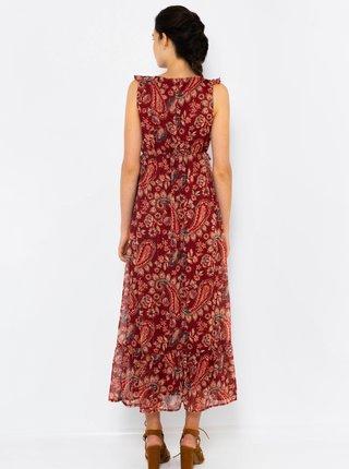 Vínové vzorované maxi šaty CAMAIEU