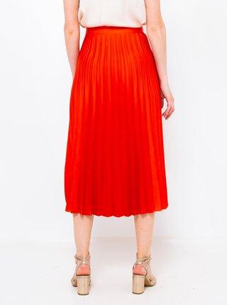 Oranžová plisovaná midi sukně CAMAIEU