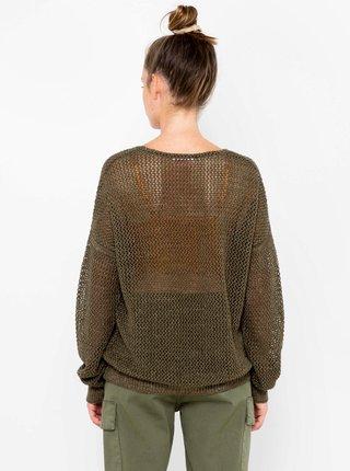 Khaki svetr s véčkovým výstřihem CAMAIEU