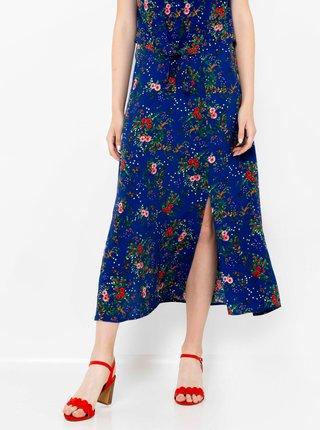 Tmavomodrá kvetovaná midi sukňa CAMAIEU