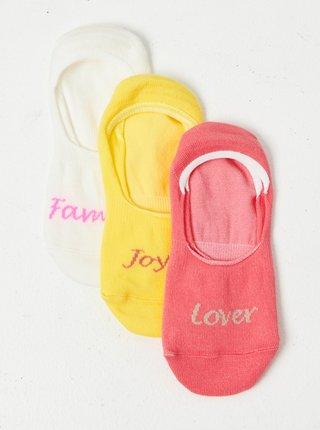 Sada tří párů nízkých ponožek v bílé, růžové a žluté barvě CAMAIEU