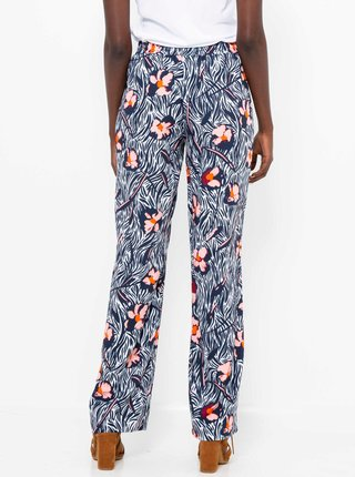 Tmavomodré kvetované nohavice CAMAIEU