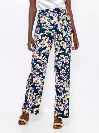 Tmavě modré květované kalhoty CAMAIEU
