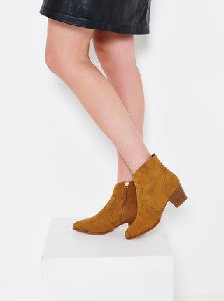 Hořčicové kotníkové boty v semišové úpravě CAMAIEU