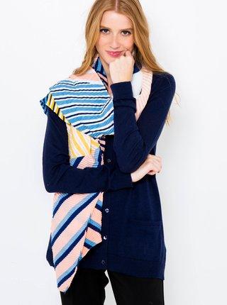 Růžovo-modrý pruhovaný šátek CAMAIEU