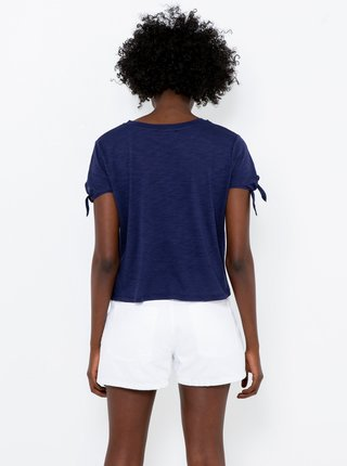 Tmavomodré tričko s nápisom CAMAIEU