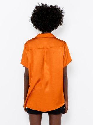 Oranžová saténová košile CAMAIEU