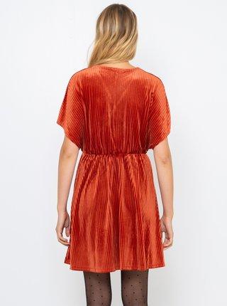Oranžové sametové šaty CAMAIEU