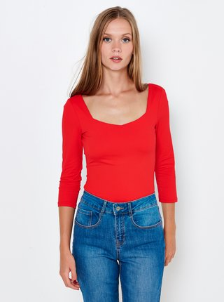 Červené tričko s tříčtvrtečním rukávem CAMAIEU