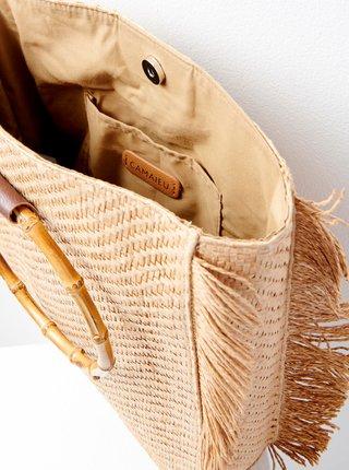 Béžová slaměná kabelka CAMAIEU
