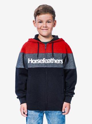 Horsefeathers TREVOR RED dětská mikiny na zip - černá