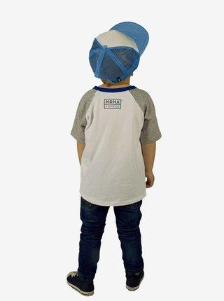 Modré klučičí tričko s potiskem pejska Bern