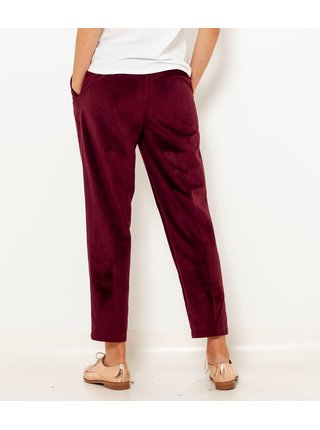 Vínové sametové zkrácené kalhoty CAMAIEU