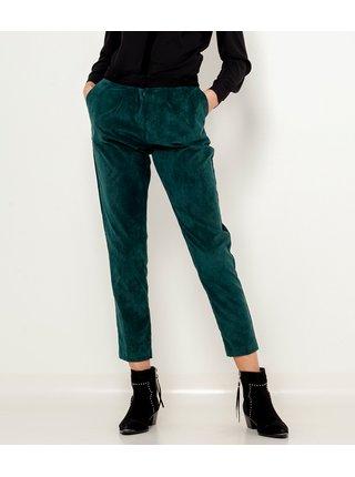 Tmavě zelené sametové zkrácené kalhoty CAMAIEU