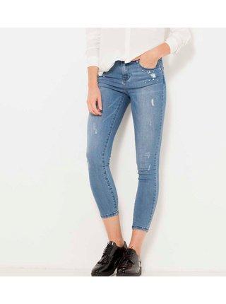 Modré zkrácené skinny fit džíny s ozdobnými detaily CAMAIEU