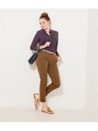 Hnedé skrátené nohavice CAMAIEU