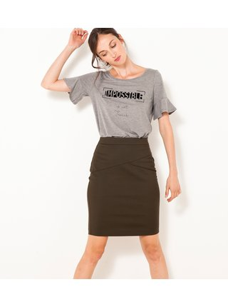 Khaki pouzdrová sukně CAMAIEU