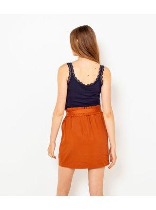 Oranžová sukňa s vreckami CAMAIEU