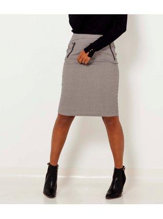Šedá vzorovaná pouzdrová sukně CAMAIEU