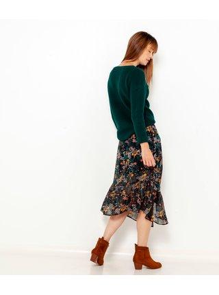 Tmavě zelená květovaná midi sukně CAMAIEU