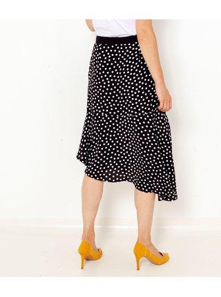 Černá puntíkovaná asymetrická sukně CAMAIEU