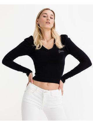 Tričká s dlhým rukávom pre ženy Guess - čierna