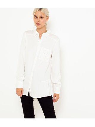 Biela dlhá košeľa s volánom CAMAIEU