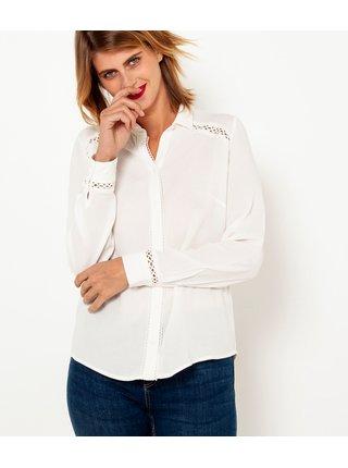 Biela košeľa s ozdobnými detailmi CAMAIEU