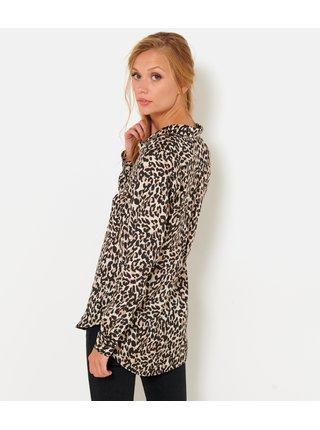 Hnědá košile s leopardím vzorem a prodlouženou zadní částí CAMAIEU